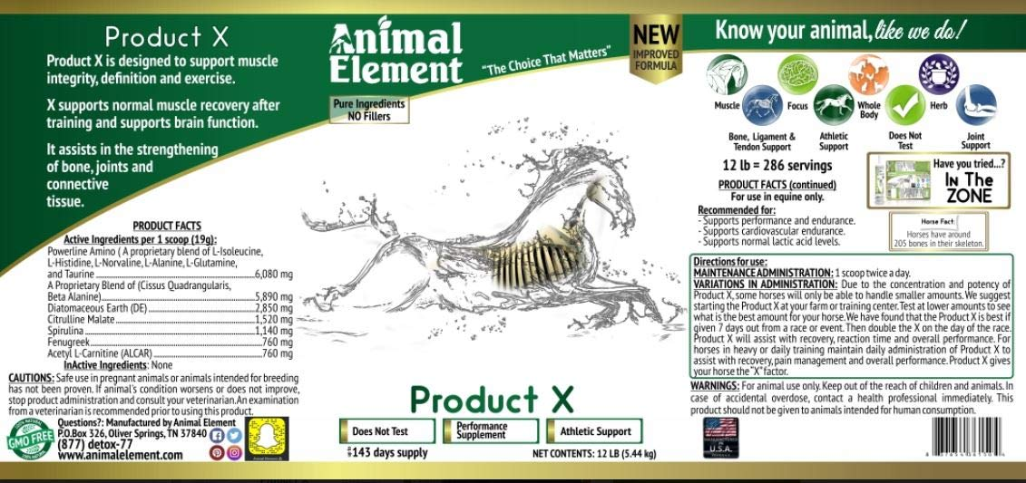 Animal Element - Product X Performance Enhancer, All Natural, Non GMO Equine Supplement (12 lb.)