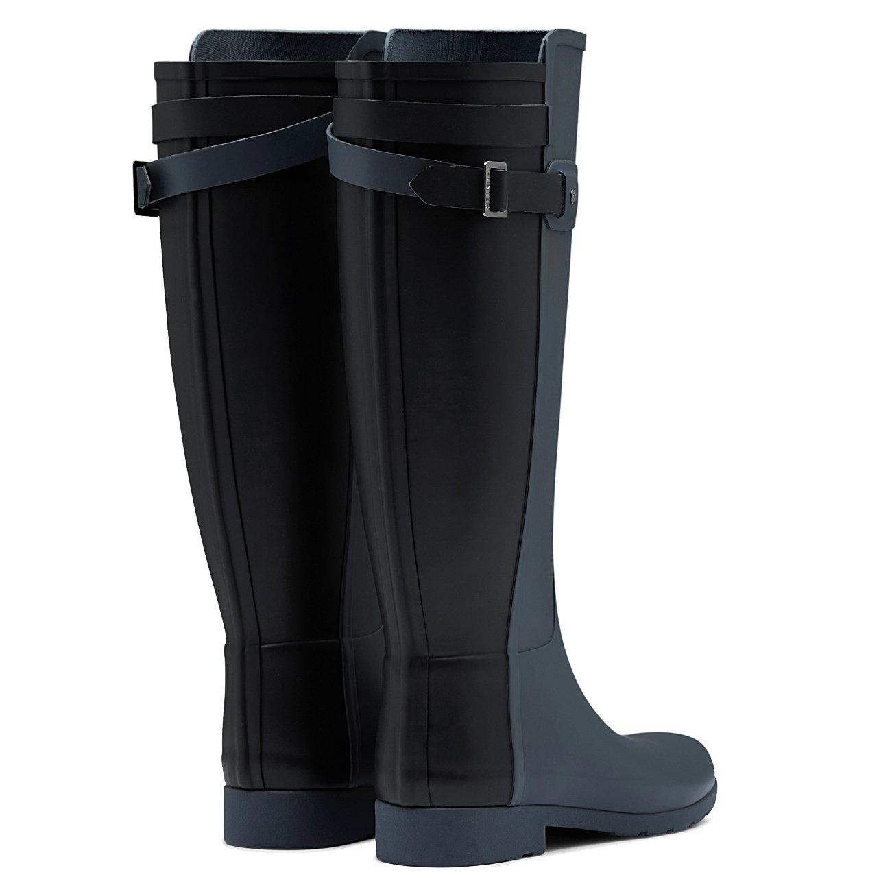 Womens Hunter Original Refined Back Strap Snow Wellingtons Rain Boot B01JOTWMCG 9 B(M) US|Dark Slate/Black