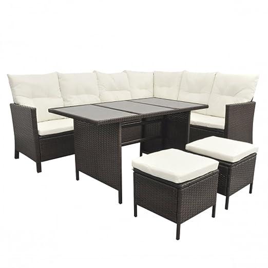 SSITG – Mueble de jardín de ratán, 8 personas, Lounge, asiento, conjunto de muebles de jardín, negro: Amazon.es: Jardín