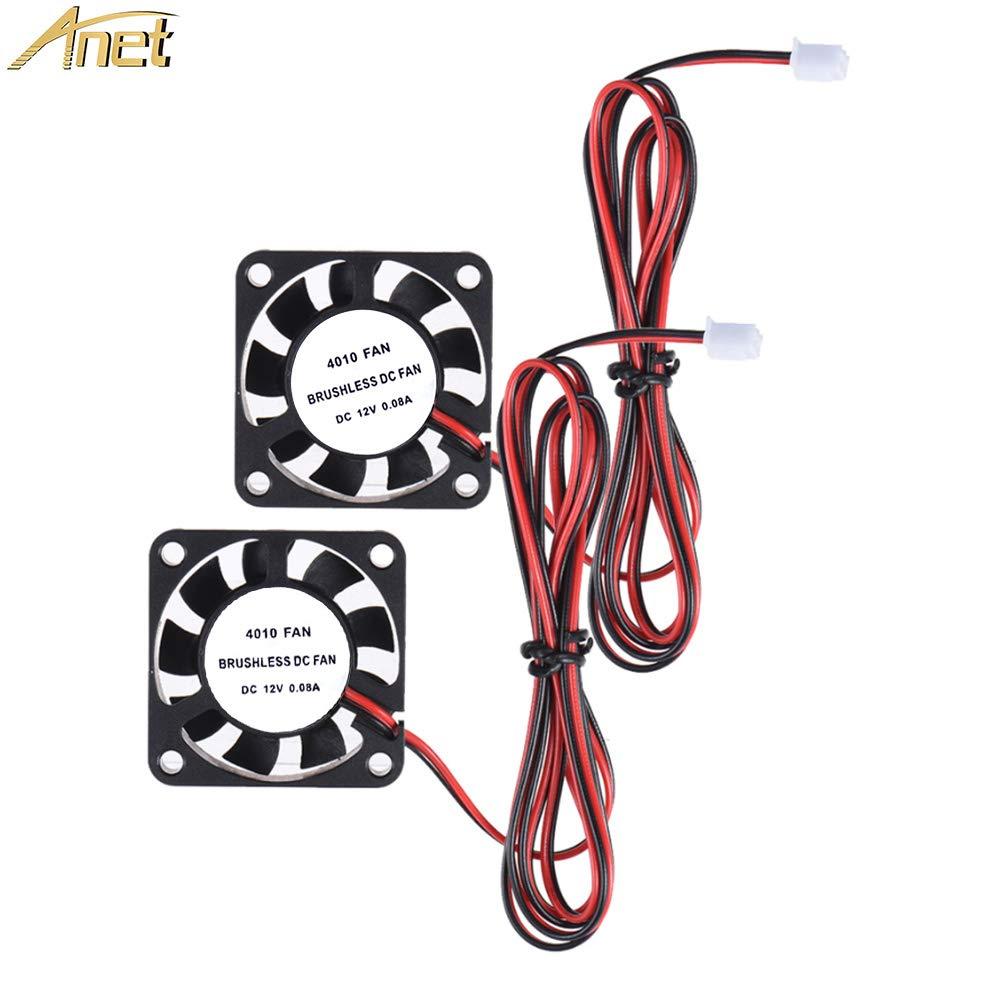 Anet Brushless DC Cooling Fan for 3D Printer Hot End, 2 Packs 40mm x 40mm x 10mm 4010 12V 2 Pin 3D Printer Fans Black
