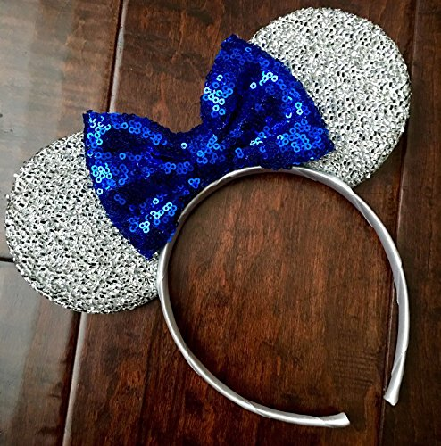 (CL Gift Silver Blue Mickey Ears, Silver Minnie Ears, I DO Minnie Sparkly Minnie Ears, Mouse Ears, Electrical Parade)