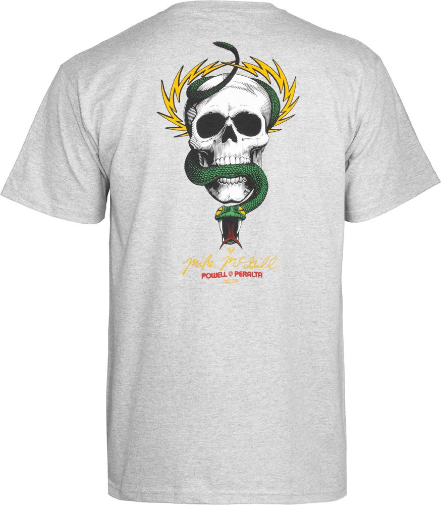 Powell-Peralta McGill Skull and Snake T-Shirt, Gray, X-Large by Powell-Peralta (Image #1)