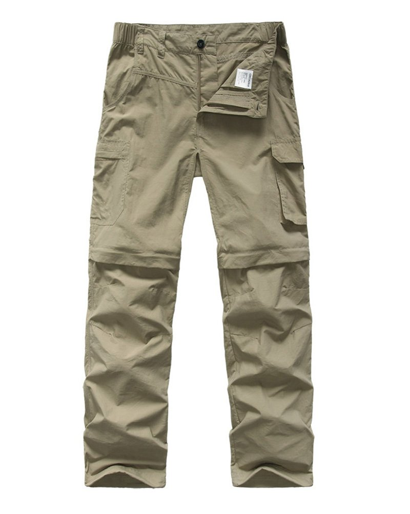 Kids Boy's Cargo Pants-Youth Outdoor Convertible,Hiking Camping Fishing Trail Zip Off Trousers#9016 Khaki-L