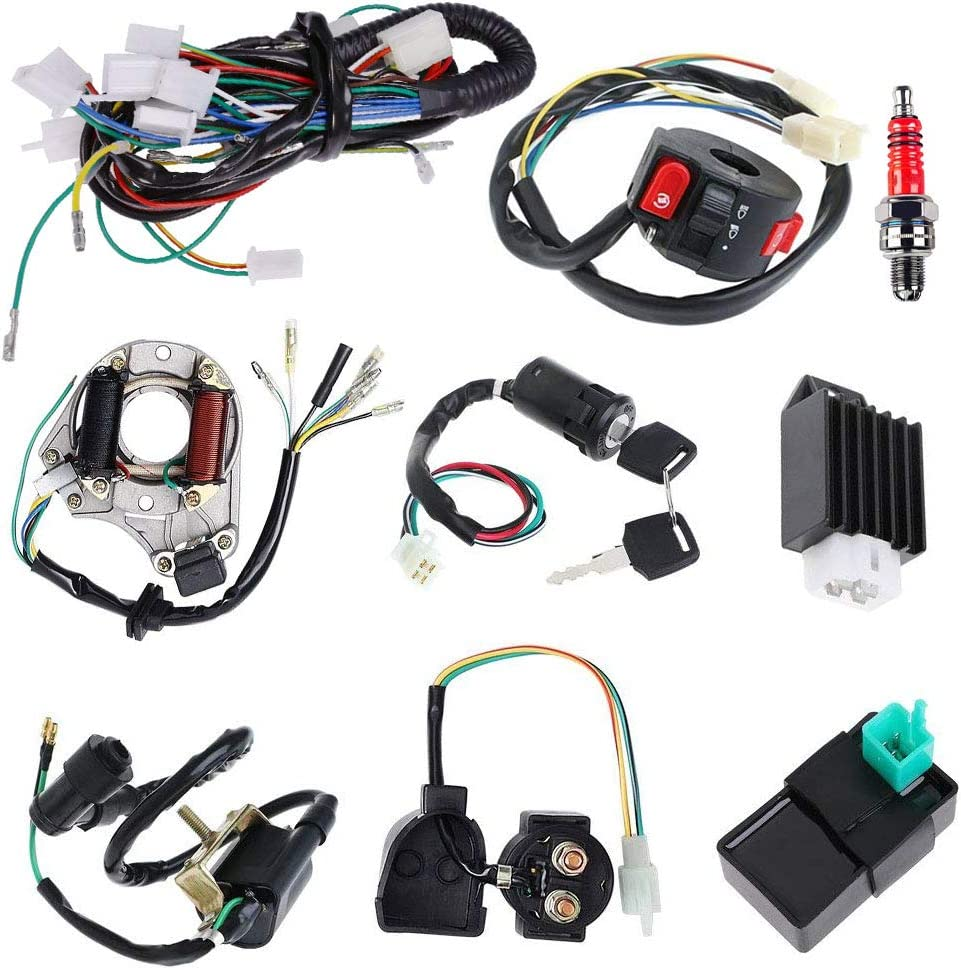 Amazon.com: Complete Electrics Stator Coil CDI Wiring Harness Solenoid  Relay Spark Plug for 4 Stroke ATV 50cc 70cc 110cc 125cc Pit Quad Dirt Bike  Go Kart by TOPEMAI: AutomotiveAmazon.com