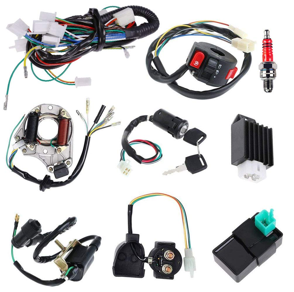 Complete Electrics Stator Coil CDI Wiring Harness Solenoid Relay Spark Plug for 4 Stroke ATV 50cc 70cc 110cc 125cc Pit Quad Dirt Bike Go Kart by TOPEMAI by TOPEMAI