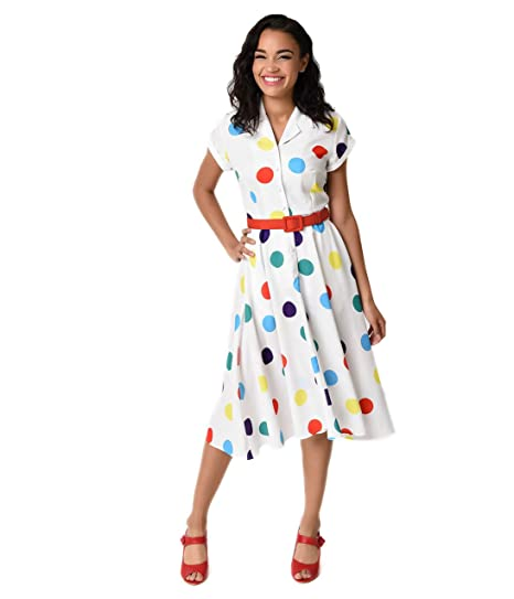 ea88a296b4 Image Unavailable. Image not available for. Color  Unique Vintage 1950s  Style White   Circus Dots Alexis Short Sleeve Swing Dress