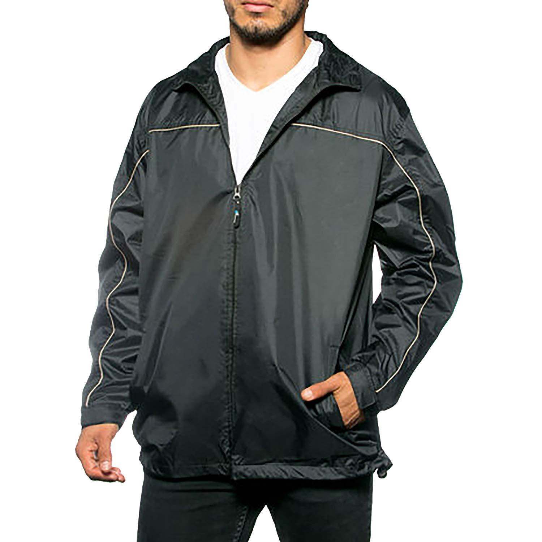 GEEK LIGHTING Men Waterproof Lightweight Rain Jacket Outdoor Raincoat Black/Yellow-2XL by GEEK LIGHTING