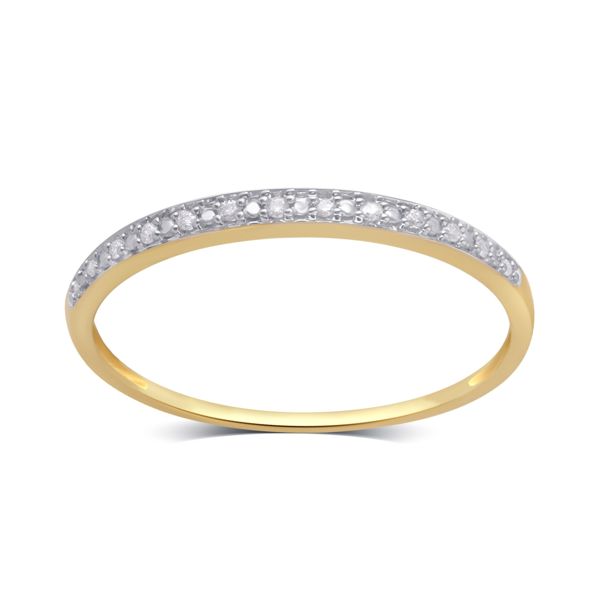 0.05 CTTW Round Diamond Wedding Band in 10K Yellow Gold by Brilliant Diamond (Image #1)