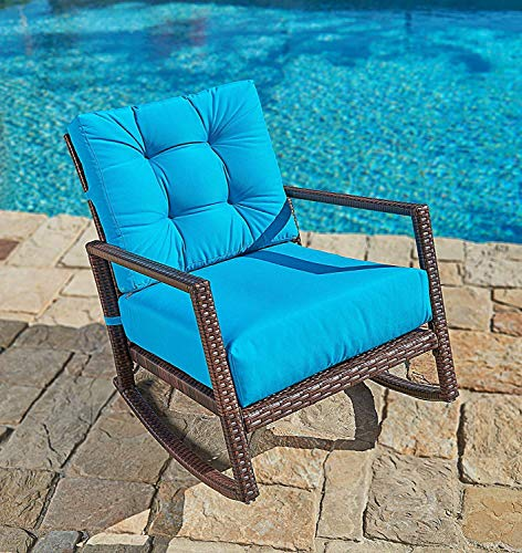 SUNCROWN Outdoor Furniture Teal Rocking Chair 1 Piece All-Weather Wicker Patio Seat with Thick, Washable Cushions | Backyard, Pool, Porch | Smooth Gliding Rocker with Improved Stability Review