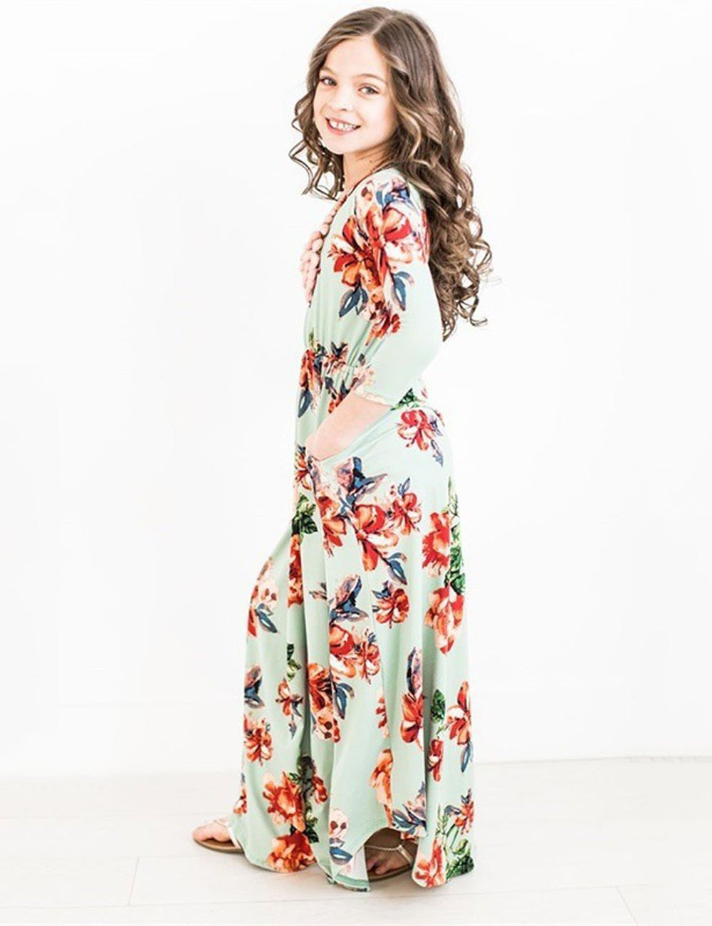 JYH Girls Maxi Dress, Floral Flared Sewing Pocket Three-Quarter Sleeves Long Dress Size 5-12 by JYH (Image #2)