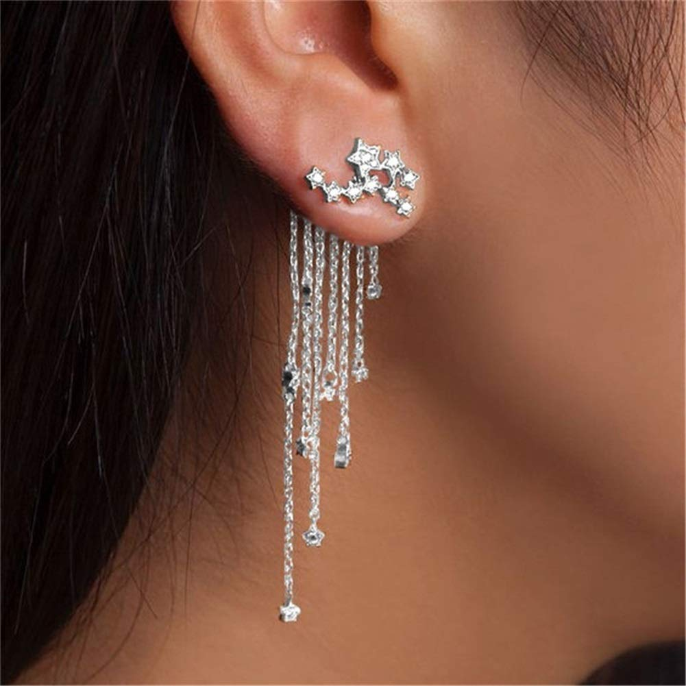 Elegant Star Bunch Long Tassel Dangle Drop Earrings for Women and Girl