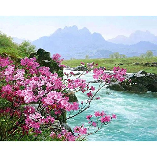 Khfun Pink Flower DIY Paint By Number Abstract Creek Digital Oil Painting Canvas Decor ( #283 )