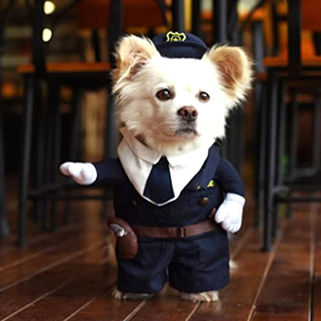 Hoopet divertido disfraz de policía con capucha para perros y gatos ideal para fiestas