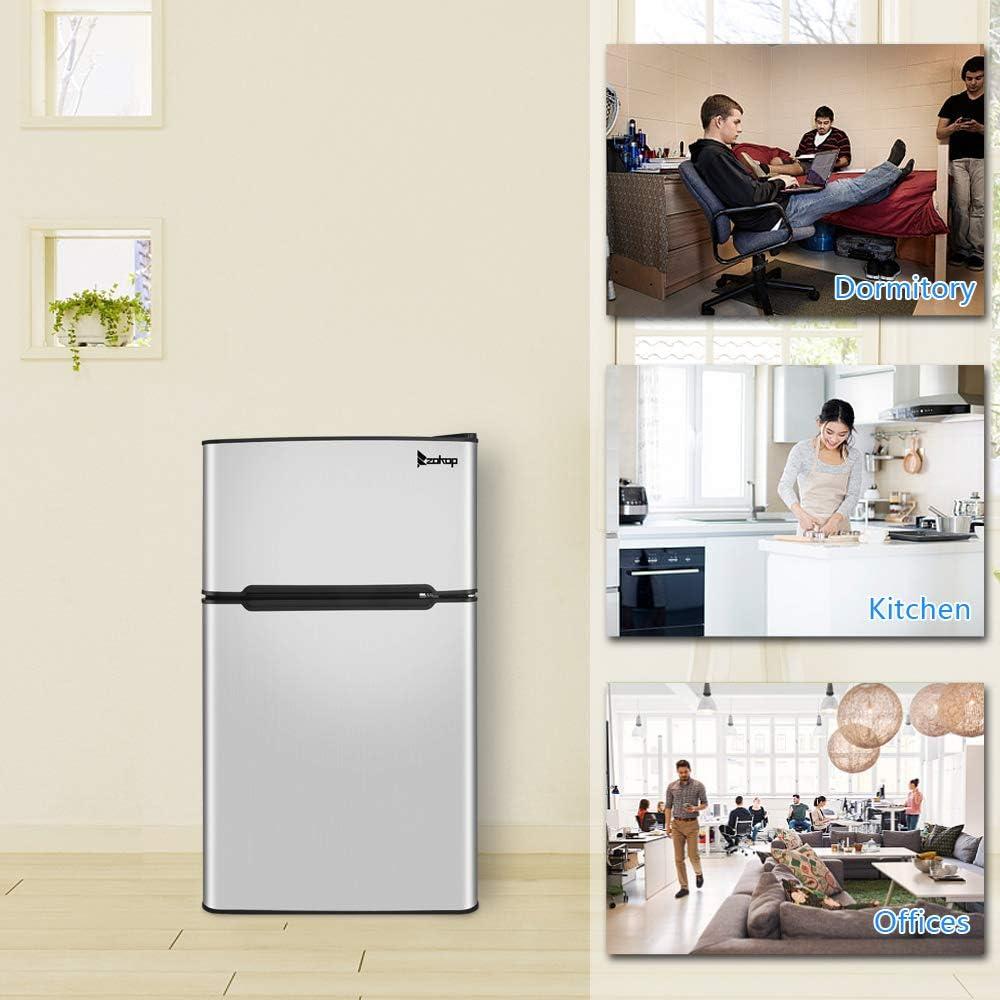 Double Door Mini Fridge with Freezer for Bedroom Office or Dorm BCD-90 AC115V//60Hz 90L//3.2CU.FT Household Refrigerator Double Doors,Black