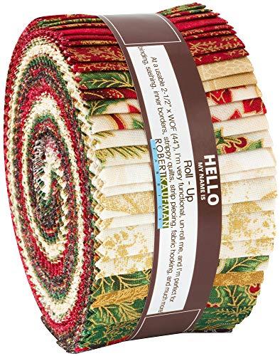 Peggy Toole Holiday Flourish 12 Holiday Roll Up 40 2.5-inch Strips Robert Kaufman RU-823-40