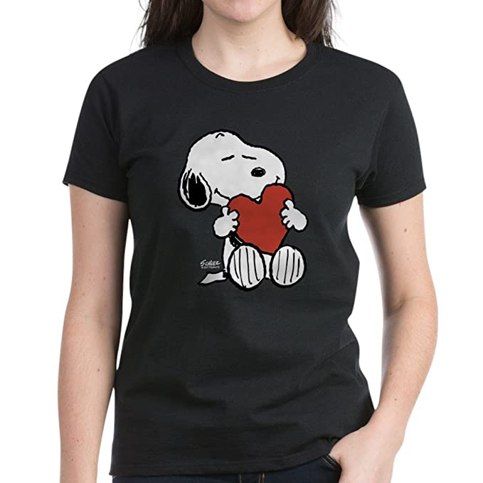 27e23e47c5 CafePress - Peanuts  Snoopy Heart T-Shirt - Womens Cotton T-Shirt Black