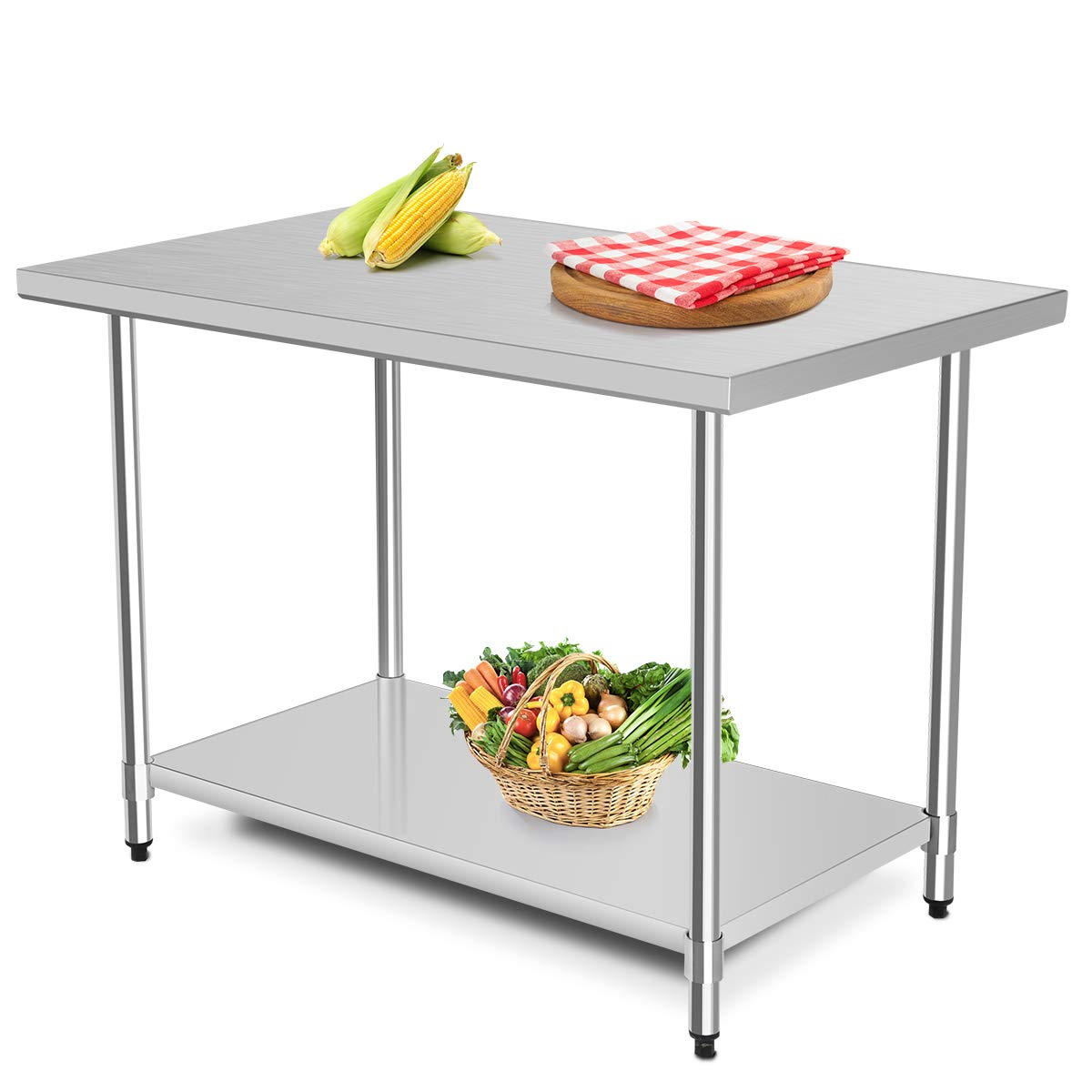 """Giantex Food Prep Table Commercial Stainless Steel Work Table Kitchen Storage Table with Adjustable Shelf and Feet 30""""x 48"""""""