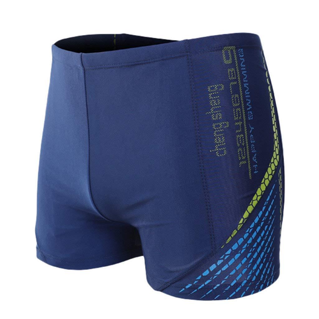 Hemlock Men Printed Swim Trunks Training Swimming Shorts Breathable Quick Drying Beach Pants Blue