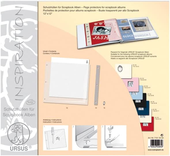 H/üllen ca Einlegebl/ätter und Verschlussschrauben Schutzh/üllenset f/ür Scrapbook Alben Ursus 71510000 30,5 x 30,5 cm