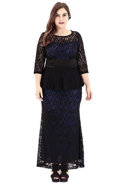 Vestido para Mujer Vestidos Tallas Grandes Cuello Redondo Vestido Larga de Encaje Azul XL