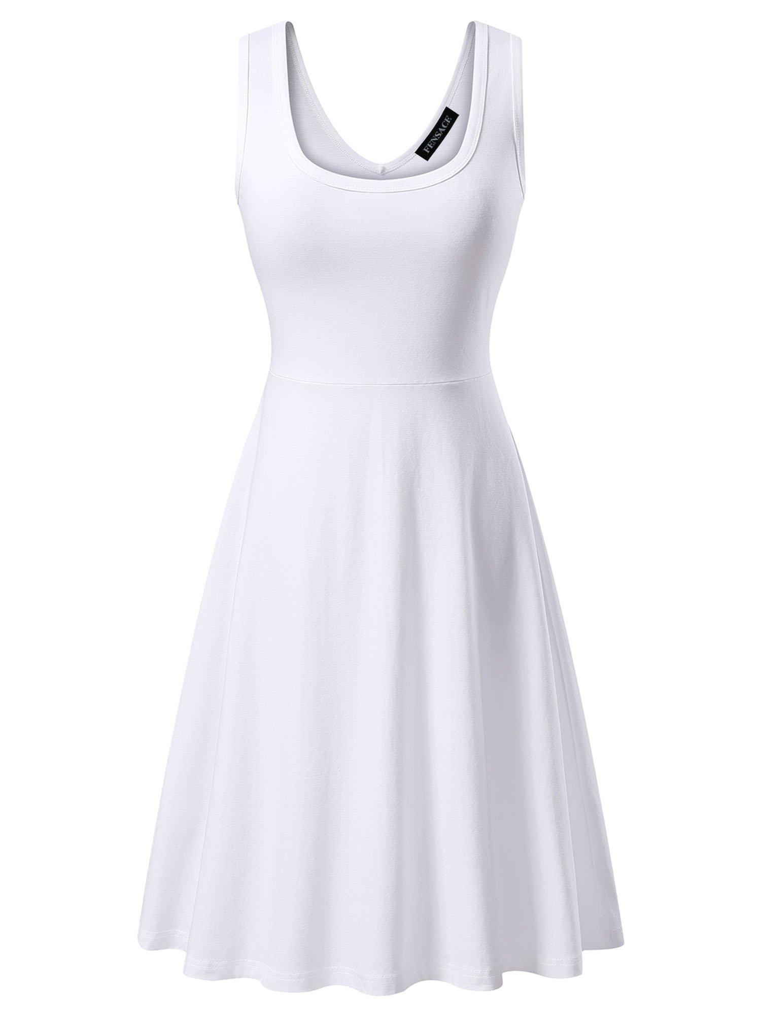 FENSACE Womens Sleeveless Scoop Neck Summer Beach Midi A Line Tank Dress, White, Medium