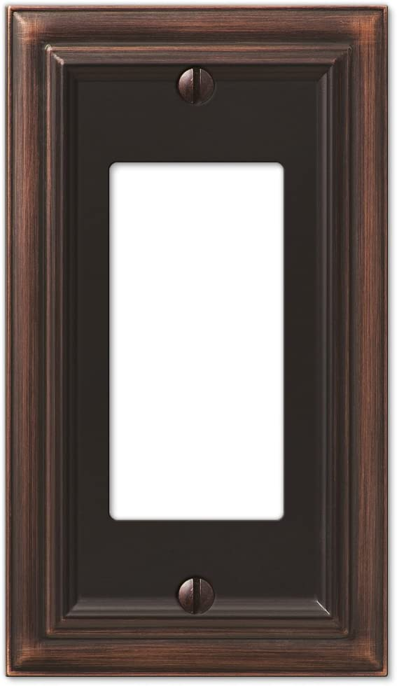 AMERELLE 94RVB Continental Single Rocker Cast Metal Wallplate in Aged Bronze
