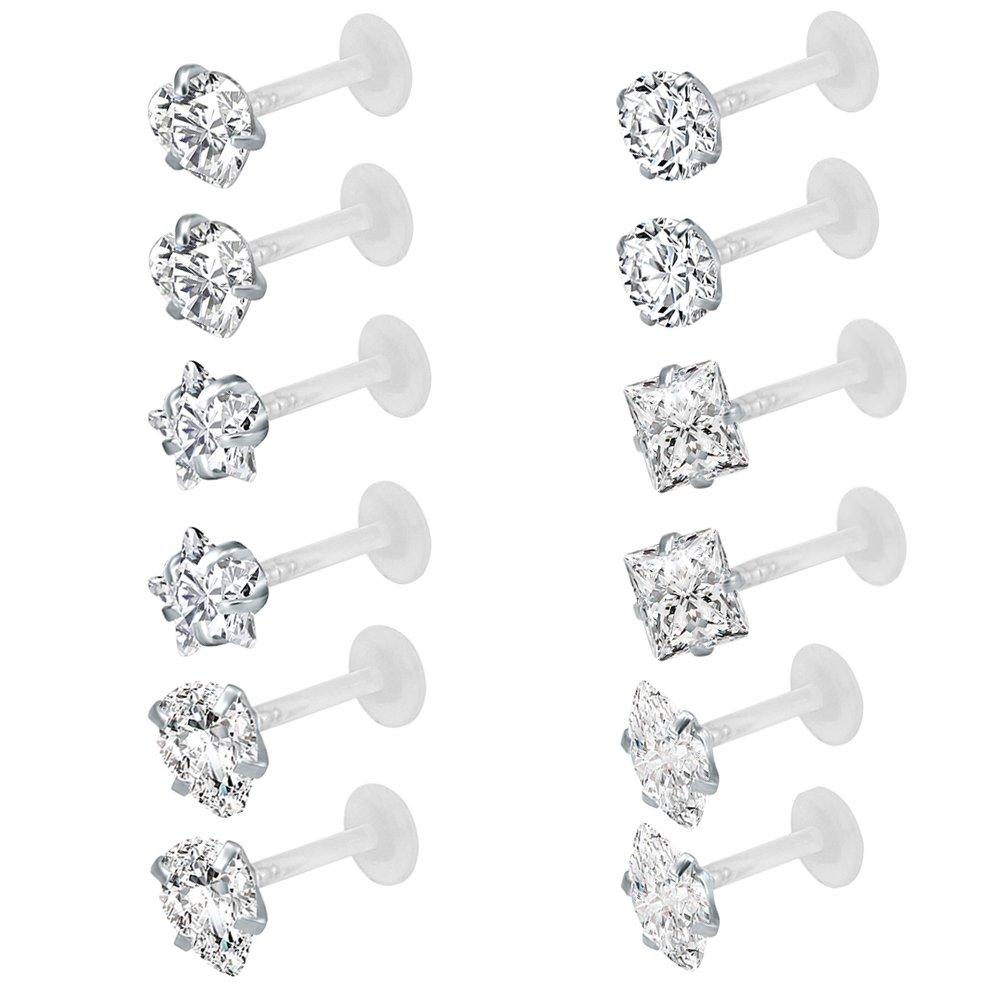 12Pcs 16G Clear Bioflex CZ Stone Labret Monroe Lip Ring Helix Tragus Cartilage Earrings Stud Piercing Pierced Art Trends