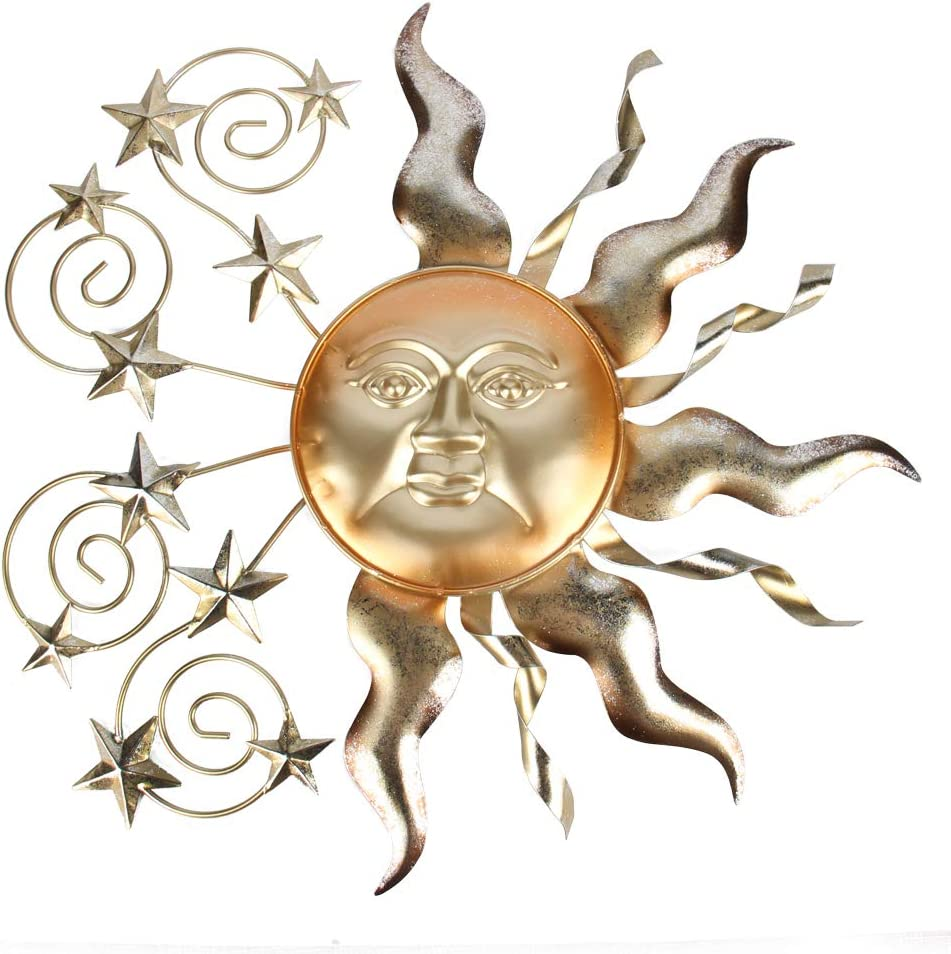 HONGLAND Metal Sun Wall Decor Outdoor Celestial Art Sculpture Indoor Decorations for Home Living Room Bedroom