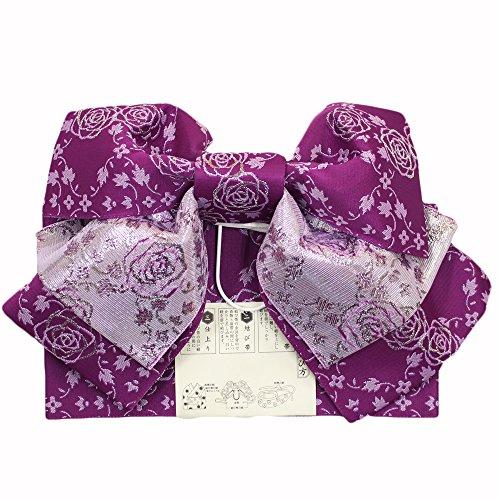 ねじれ政令偽物【日本製浴衣帯】【紫地にシルバー系】作り帯 結び帯 簡単 浴衣 仕立て上がり