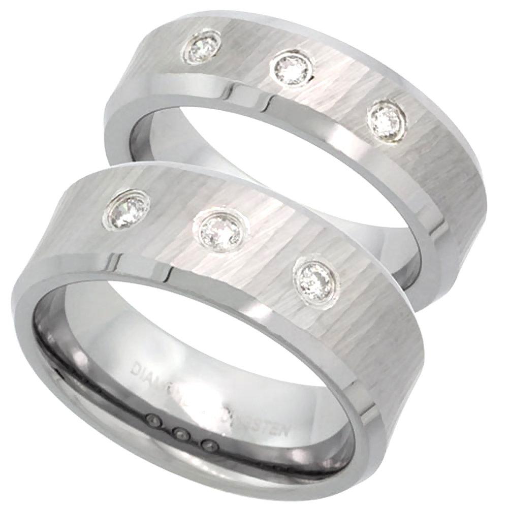 2-Ring Set 6 & 8mm Tungsten 3 Stone Diamond Wedding Ring Diamond Cut Beveled Comfort fit, size 9.5