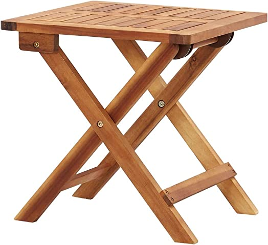 Folding Table Portable Camping Table,15.7″ Square Solid Wood Small Table,Slatted Tabletop,Cross Leg Design,Easy to Carry,Perfect