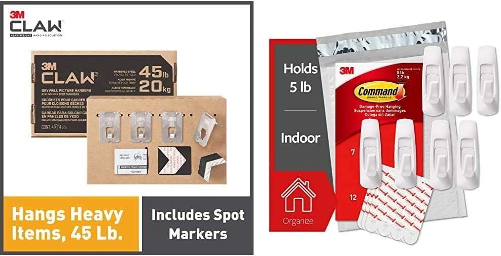 3M Claw Drywall Picture Hangers Holds 45 lb. & Command Large Utility Hooks, 7-Hooks, 12-Strips