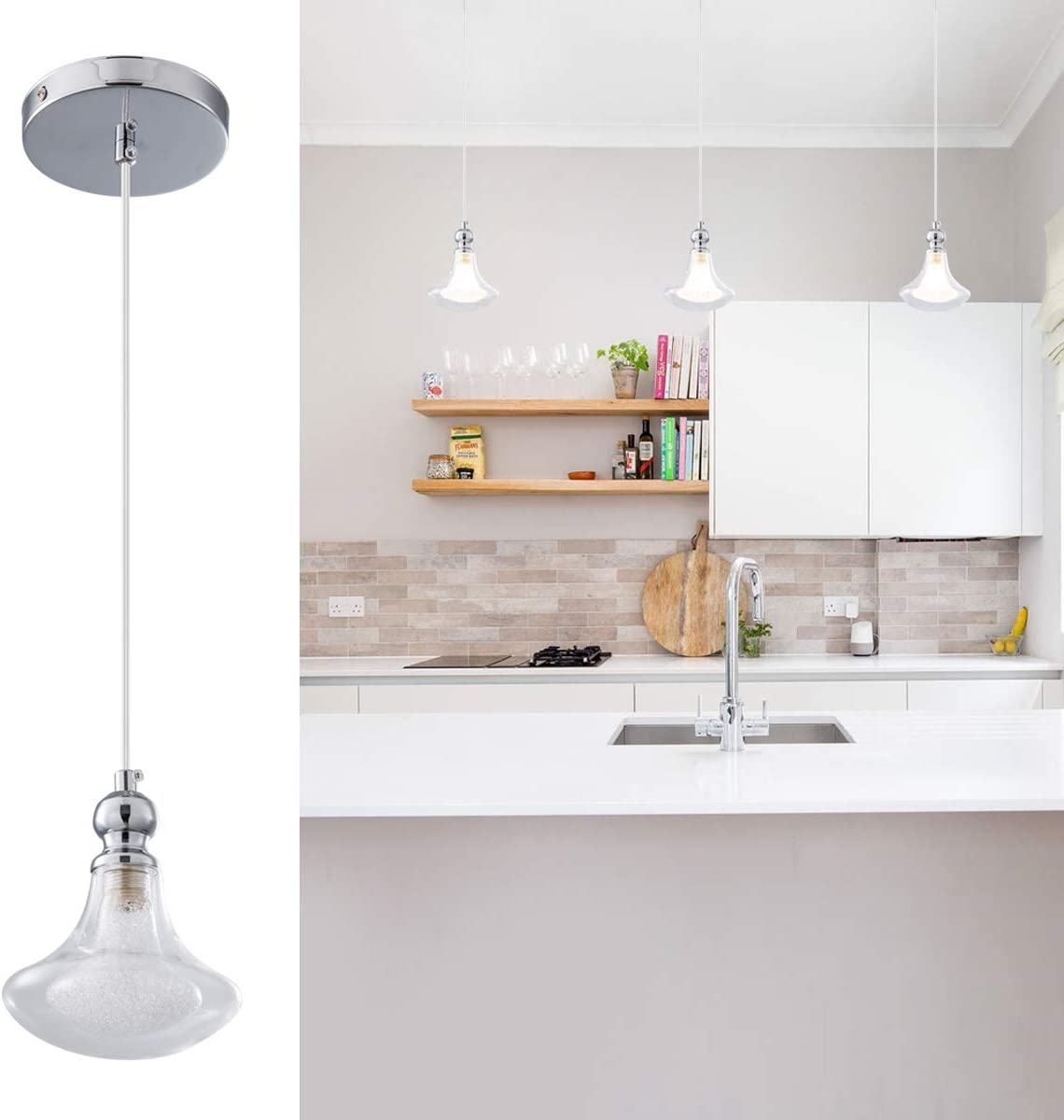 1 Light Pendant Light with Fancy Glass Lampshade Chrome Finish Lighting Fixtures Ceiling Adjustable, Modern Style, Hanging Light Fixture for Kitchen Island, Dining Room, Foyer, Entryway, Stairway