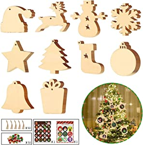 JeogYong 50pcs Wooden Christmas Ornaments for Christmas Tree Hanging Decorations, Santa Hat Snowman Reindeer Stockings Unfinished Wood Ornaments with Stickers & Twine Rope for Xmas Tree Hanging Decor