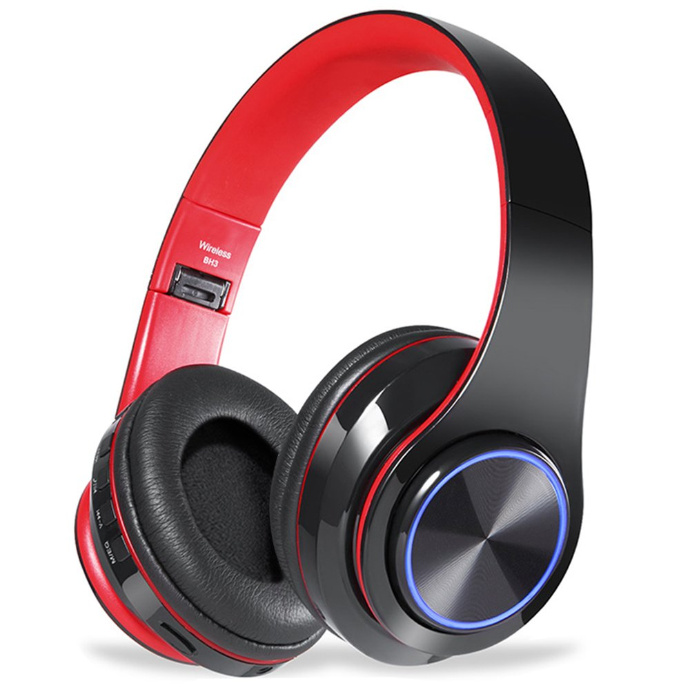 Bluetooth Headphones Over Ear,Viotte Hi-Fi Stereo Wireless/Wired Headset,Foldable Comfortable Earmuffs,Built-in Mic,10 Hours Playtime,Compatible with Smartphone,PC,iPhone,Tablets-Black & Red