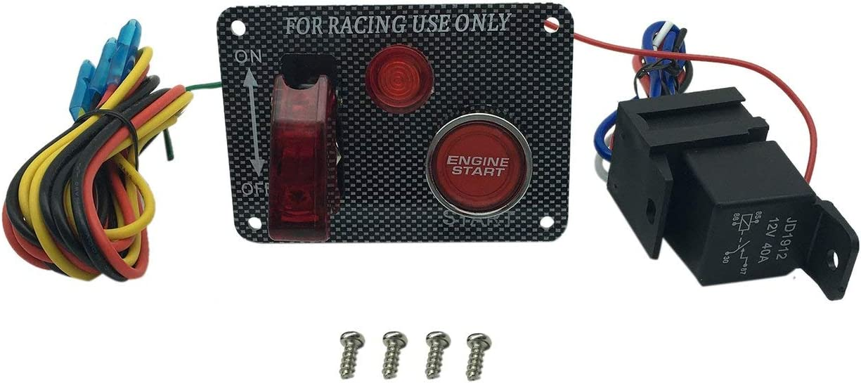 Power Off Switch Panel Multifunction Quality Ignition Start Switch Red Push Button Aircraft Kit for Racing Car Jasnyfall carbon fiber grain