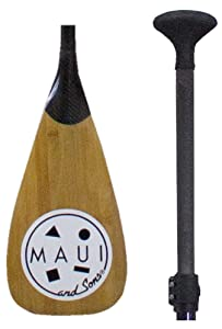 Adjustable Carbon Fiber and Bamboo Paddle Board Paddle By Maui and Sons