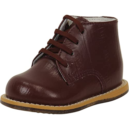 182e65d64c6e Josmo Infant Boy's First Walker Burgundy Eel Lace Up Oxfords Shoes Sz: 2