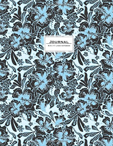 Download Lined Journal (Diary, Notebook) 8.5 x 11: Black Lace & Baby Blue Flower Art (Ruled Journals To Write In) pdf epub