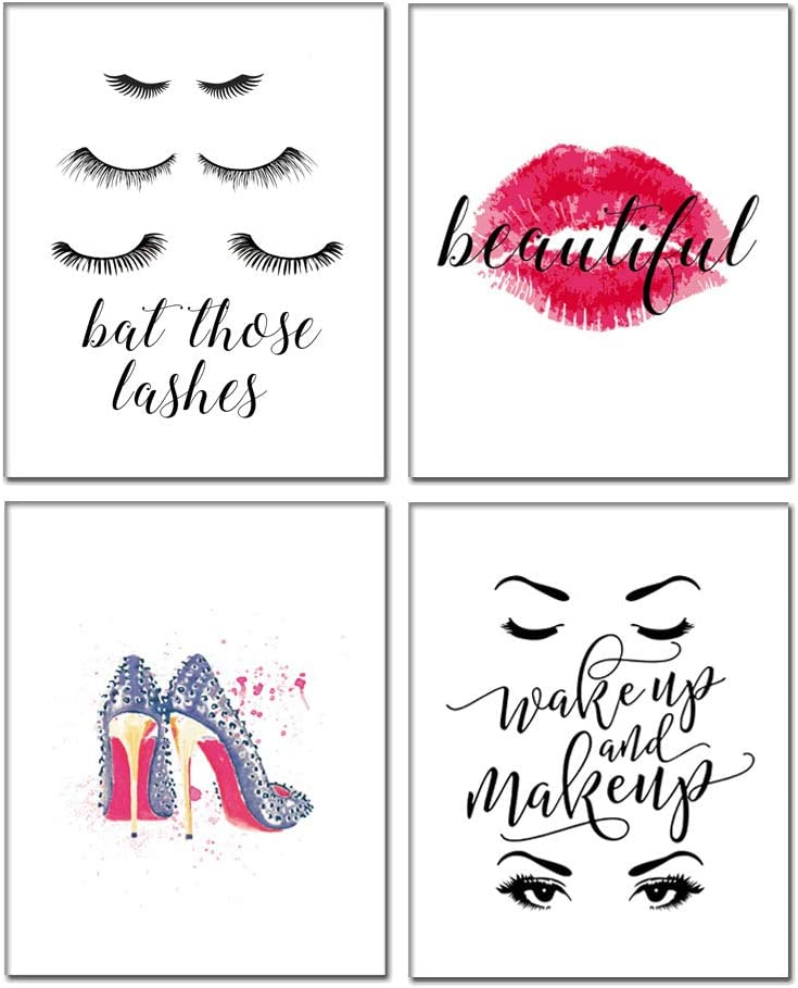 """Motivational Inspirational Lettering Quote Fashion Woman Art Print Set Of 4 Posters 8""""X10"""" Canvas Office Girls Home Words Wall Art-To Inspire Teens Girls Hard Work Decor"""
