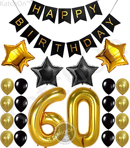 60th BIRTHDAY PARTY DECORATIONS KIT - Happy Birthday Black Banner, 60th Gold Number Balloons,Gold and Black, Number 60, Perfect 60 Years Old Party Supplies,Free Bday Printable Checklist]()