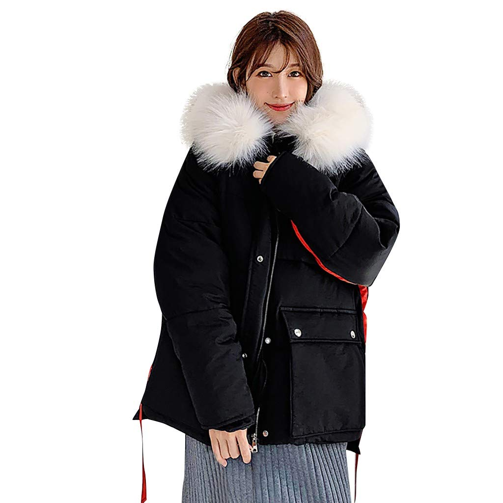 BBTshop Women Coats Jacket Fashion Overcoat Cotton-Padded Pockets Tops Hooded Sweater Blouses Winter Long Sleeve Trench Outwear Sweatshirt Ladies Trench Thickened Suit Blazer Tailcoat Shirt by BBTshop