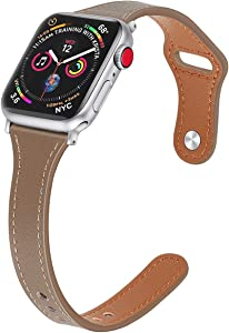 Mtozon Slim Leather Bands Compatible with Apple Watch 38mm/40mm iwatch Straps Series 6/SE/5/4/3/2/1, Replacement Soft Genuine Leather Sport Wristband, Tan S/M