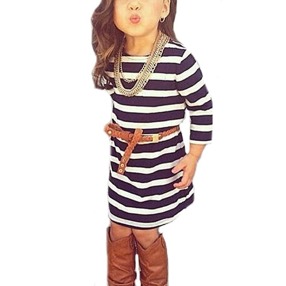 Vogholic Little Girls' Black & White Striped Long Sleeve T-shirt Dress with Belt