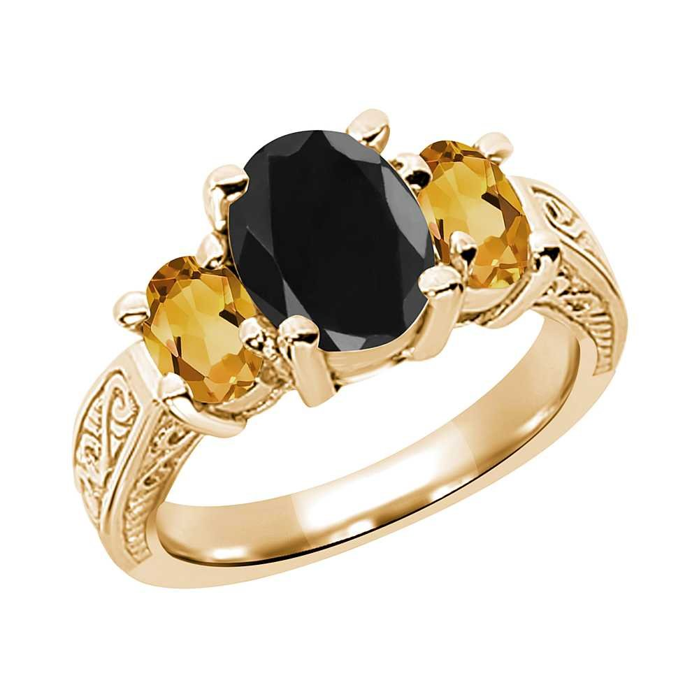3.34 Ct Oval Black Sapphire Yellow Citrine 14K Yellow Gold 3-Stone Ring