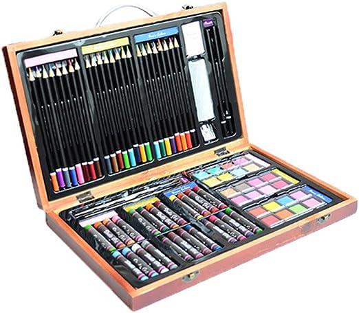 Set de Lapices de Color 80 piezas de lujoso conjunto de pintura para artistas con caja de almacenamiento portátil de caballete de madera para niños, varios lápices de colores diversos accesorios: Amazon.es: