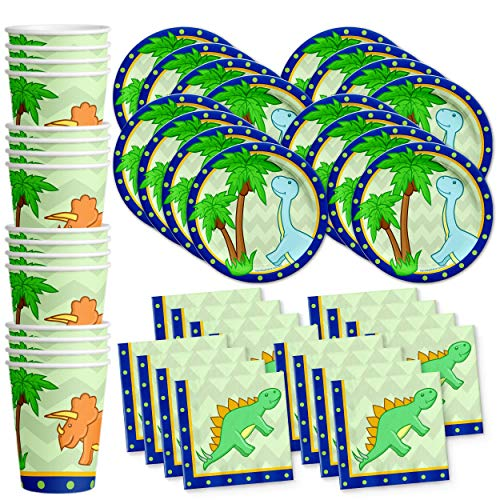Little Dino Dinosaur Birthday Party Supplies Set Plates Napkins Cups Tableware Kit for 16 by Birthday Galore]()