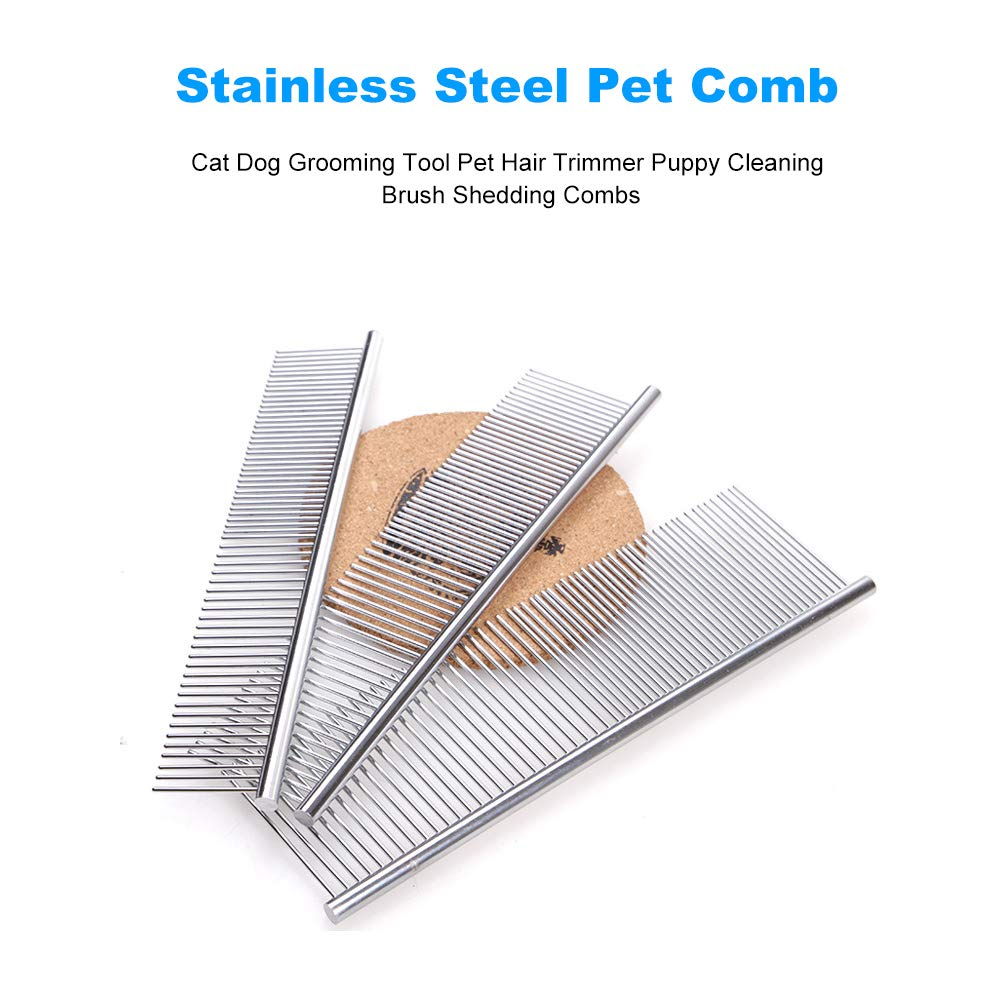 Festnight Stainless Steel Pet Comb Cat Dog Grooming Tool Pet Hair Trimmer Puppy Cleaning Brush Shedding Combs