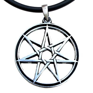 Amazon septagram 7 pointed fairy star heptagram pewter pendant septagram 7 pointed fairy star heptagram pewter pendant charm amulet black pvc necklace aloadofball Gallery