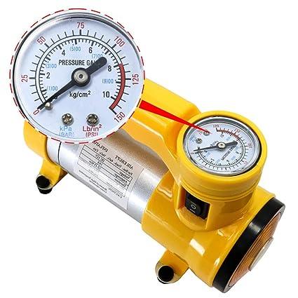 Bomba de compresor de Aire, 70l/min mecánico Reloj inflador de neumáticos (12V